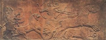 """Материалы по литературе.  Ассирия.  Рельеф:  """"Царь Ашшурназарпал во время..."""